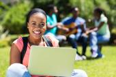 African college student using laptop — Stock Photo