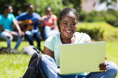 Female college student with laptop computer — Stock Photo