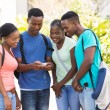 College students using cell phone — Stock Photo #70643851