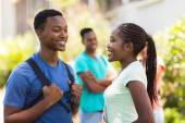 African college girl talking to her friend — Stock Photo