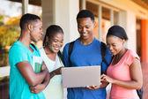 African university students using laptop — Stock Photo
