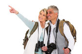 Tourist pointing at empty space — Stock Photo