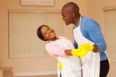 Couple dancing in home — Stock Photo