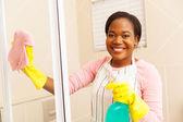 Woman cleaning shower door — Stock Photo