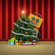 Toy robot happy with christmas tree and presents — Stock Photo #54046781