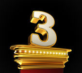 Number Three on golden platform — Stock Photo
