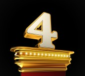 Number Four on golden platform — Stock Photo