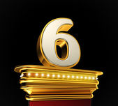 Number Six on golden platform — Stock Photo