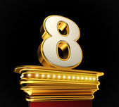 Number Eight on golden platform — Stock Photo