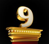 Number Nine on golden platform — Stock Photo