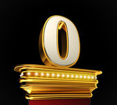 Number Zero on golden platform — Stock Photo