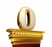 Number Zero on a golden platform over white — Stock Photo