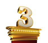 Number Three on a golden platform over white — Stock Photo