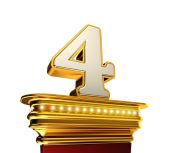 Number Four on a golden platform over white — Stock Photo