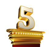 Number Five on a golden platform over white — Stock Photo
