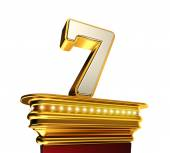 Number Seven on a golden platform over white — Stock Photo
