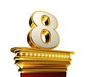 Number Eight on a golden platform over white — Stock Photo