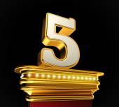 Number Five on golden platform — Stock Photo