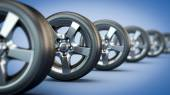 Row of car wheels — Foto Stock