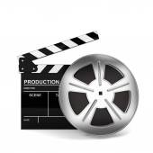 Cinema film and clap board — Stock Photo