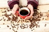 Woman hand with coffee. — Stock Photo