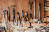 Old vintage tools at workshop. — Stock Photo