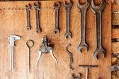 Old vintage tools at workshop. — Stock Photo