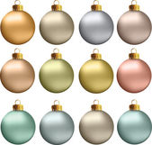 Vector Christmas Balls Pastel Metallic Colors — Stock Vector