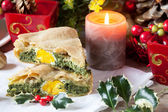 Savory Pie With Christmas Decorations — Stock Photo