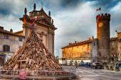 Tree Trunks For Bonfire of Saint Anthony Bagnaia Italy — Stock Photo