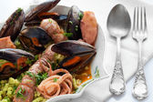 Seafood Soup With Bread Crumbs Passatelli — Stock Photo