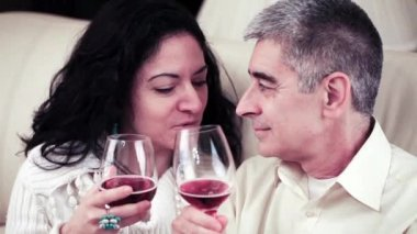 Couple Talking Closely And Toasting With Red Wine — Stock Video