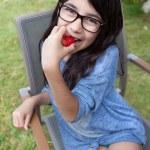 Cheerful Girl In The Garden — Stock Photo #74810719