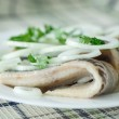 Salted herring with onions — Stock Photo #52466535