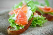 Sandwich with salmon and cheese — Stock Photo