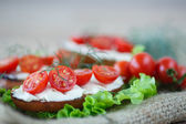 Toast with cheese and cherry tomatoes — Stock Photo