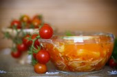Tomato soup with pasta in a bowl  — ストック写真