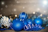 Christmas card with balls — Stock Photo