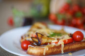 Hot sandwich with eggplant — Stock Photo