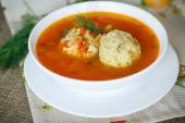 Tomato soup with meatballs — Stock Photo