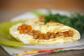 Fresh morning egg omelet with beans — Stock Photo