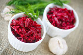 Beet caviar with garlic — Stock Photo