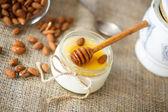 Homemade yogurt with honey and nuts — Stock Photo