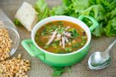Pea soup with smoked meat — Stock Photo