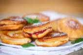 Fried cakes with jam — Stock Photo