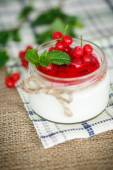 Sweet  yogurt with jam and red currant — Stock Photo