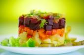 Salad of boiled vegetables with beets  — Stock Photo