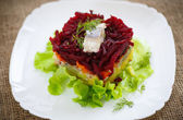 Salad with herring and boiled vegetables — Stock Photo