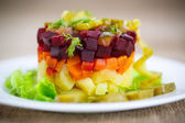 Salad of boiled vegetables with beetroot — Stock Photo