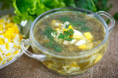 Green soup with eggs and sorrel  — Stock Photo